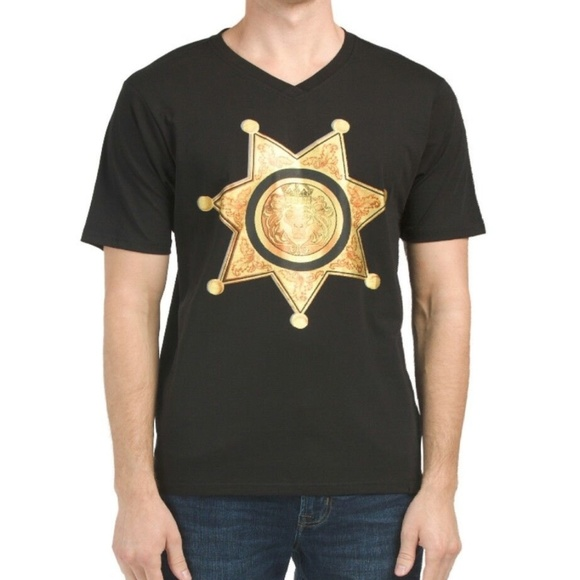 2fdf4c71 Versace V 19-69 ITALIA Blackw Gold Star T-Shirt NWT